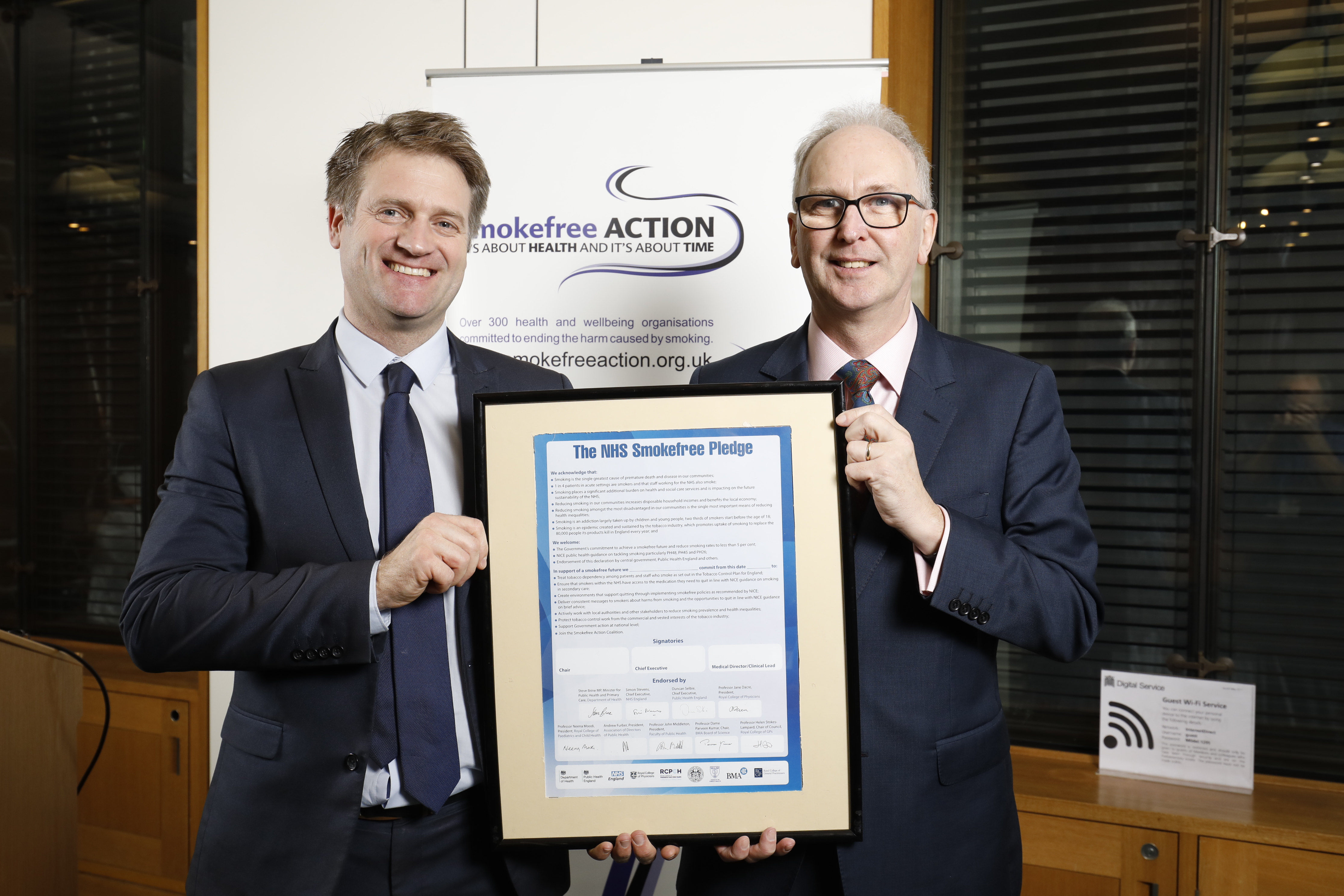 Photo of Professor Sean Duffy and Scott Crosby at launch of NHS Smokefree Pledge